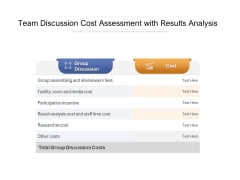Team Discussion Cost Assessment With Results Analysis Ppt PowerPoint Presentation Gallery Rules PDF