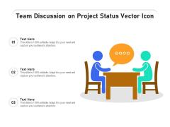Team Discussion On Project Status Vector Icon Ppt PowerPoint Presentation Model Portfolio PDF