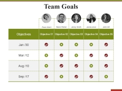 Team Goals Template 2 Ppt PowerPoint Presentation Infographics Structure