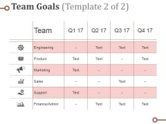 Team Goals Template Ppt PowerPoint Presentation Summary Slideshow