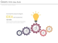 Team In Gears With Idea Bulb Powerpoint Slides