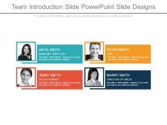 Team Introduction Slide Powerpoint Slide Designs