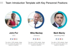 Team Introduction Template With Key Personnel Positions Ppt PowerPoint Presentation Gallery Slideshow