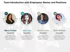 Team Introduction With Employees Names And Positions Ppt Powerpoint Presentation Ideas Files