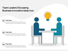 Team Leaders Discussing Business Innovative Ideas Icon Ppt PowerPoint Presentation Background Image PDF