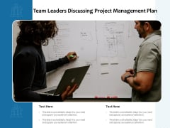 Team Leaders Discussing Project Management Plan Ppt PowerPoint Presentation File Graphics Template PDF