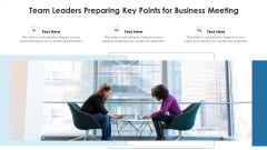 Team Leaders Preparing Key Points For Business Meeting Ppt PowerPoint Presentation File Vector PDF