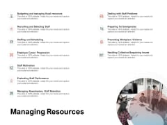 Team Manager Administration Managing Resources Infographics Pdf