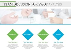 Team Meeting And Swot Analysis Session PowerPoint Slides