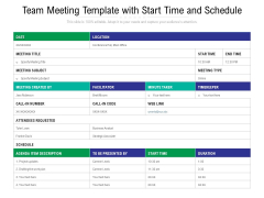 Team Meeting Template With Start Time And Schedule Ppt PowerPoint Presentation File Slide PDF