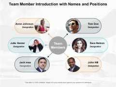 Team Member Introduction With Names And Positions Ppt Powerpoint Presentation Icon Outline