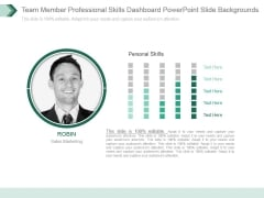 Team Member Professional Skills Dashboard Powerpoint Slide Backgrounds