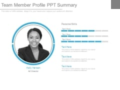 Team Member Profile Ppt Summary