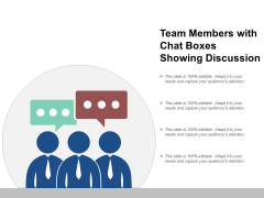 Team Members With Chat Boxes Showing Discussion Ppt Powerpoint Presentation Styles Example