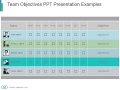 Team Objectives Ppt Presentation Examples