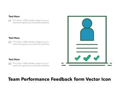Team Performance Feedback Form Vector Icon Ppt PowerPoint Presentation Infographics Designs PDF