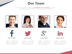 Team Profile On Social Media Network Powerpoint Slides