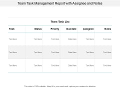 Team Task Management Report With Assignee And Notes Ppt PowerPoint Presentation Infographic Template Background Images Cpb