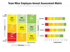 Team Wise Employee Annual Assessment Matrix Ppt PowerPoint Presentation Gallery Graphics Design PDF