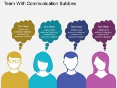 Team With Communication Bubbles PowerPoint Template