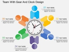 Team With Gear And Clock Design PowerPoint Template