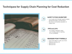 Techniques For Supply Chain Planning For Cost Reduction Ppt PowerPoint Presentation Gallery Background PDF