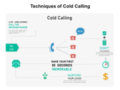 Techniques Of Cold Calling Ppt PowerPoint Presentation Gallery Graphics Tutorials PDF