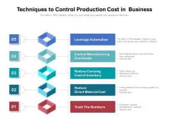 Techniques To Control Production Cost In Business Ppt PowerPoint Presentation Layouts Designs Download PDF