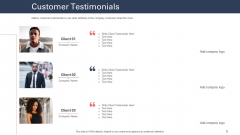 Techniques To Increase Customer Satisfaction Customer Testimonials Ppt Icon Graphics PDF