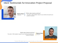 Technological Innovation Project Client Testimonials For Innovation Project Proposal Information PDF