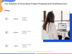 Technological Innovation Project Our Solution Of Innovation Project Proposal And Timeframe Formats PDF