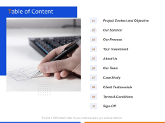 Technological Innovation Project Table Of Content Ppt Inspiration Topics PDF