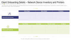 Technology Facility Maintenance And Provider Client Onboarding Details Network Device Inventory And Printers Themes PDF