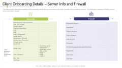 Technology Facility Maintenance And Provider Client Onboarding Details Server Info And Firewall Ppt Professional Introduction PDF