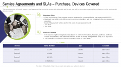 Technology Facility Maintenance And Provider Service Agreements And Slas Purchase Devices Covered Ppt Infographics Layout PDF