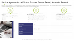 Technology Facility Maintenance And Provider Service Agreements And Slas Purpose Service Period Automatic Renewal Pictures PDF