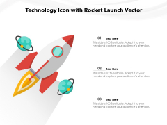 Technology Icon With Rocket Launch Vector Ppt PowerPoint Presentation File Ideas PDF