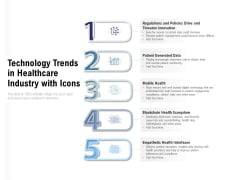 Technology Trends In Healthcare Industry With Icons Ppt PowerPoint Presentation Icon Graphic Images