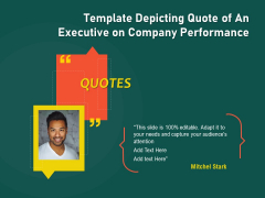 Template Depicting Quote Of An Executive On Company Performance Ppt PowerPoint Presentation File Portfolio PDF