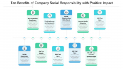 Ten Benefits Of Company Social Responsibility With Positive Impact Ppt PowerPoint Presentation Clipart PDF