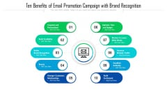 Ten Benefits Of Email Promotion Campaign With Brand Recognition Ppt PowerPoint Presentation Infographic Template Icon PDF