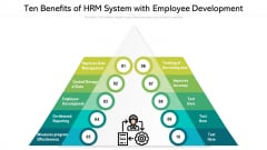 Ten Benefits Of HRM System With Employee Development Ppt PowerPoint Presentation Model Grid PDF