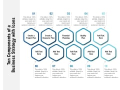 Ten Components Of A Business Strategy With Icons Ppt PowerPoint Presentation Outline Shapes
