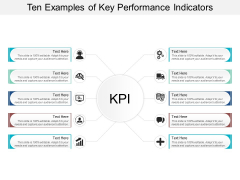 Ten Examples Of Key Performance Indicators Ppt Powerpoint Presentation Layouts Professional