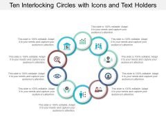 Ten Interlocking Circles With Icons And Text Holders Ppt PowerPoint Presentation Slides Maker