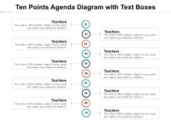 Ten Points Agenda Diagram With Text Boxes Ppt PowerPoint Presentation File Diagrams