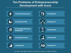 Ten Problems Of Entrepreneurship Development With Icons Ppt PowerPoint Presentation Icon Graphics Tutorials