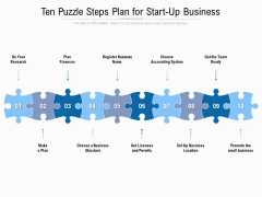 Ten Puzzle Steps Plan For Start Up Business Ppt PowerPoint Presentation Styles Example File