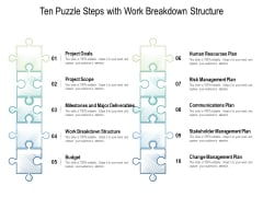 Ten Puzzle Steps With Work Breakdown Structure Ppt PowerPoint Presentation Outline Themes