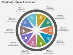 Ten Staged Business Circle And Icons Powerpoint Template
